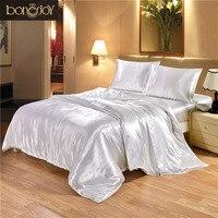 Bonenjoy Satin Silk Bedding Set White Bed Linen Luxury Jacquard Bedding Set King Queen Twin Double Size With Plain Pillow Case