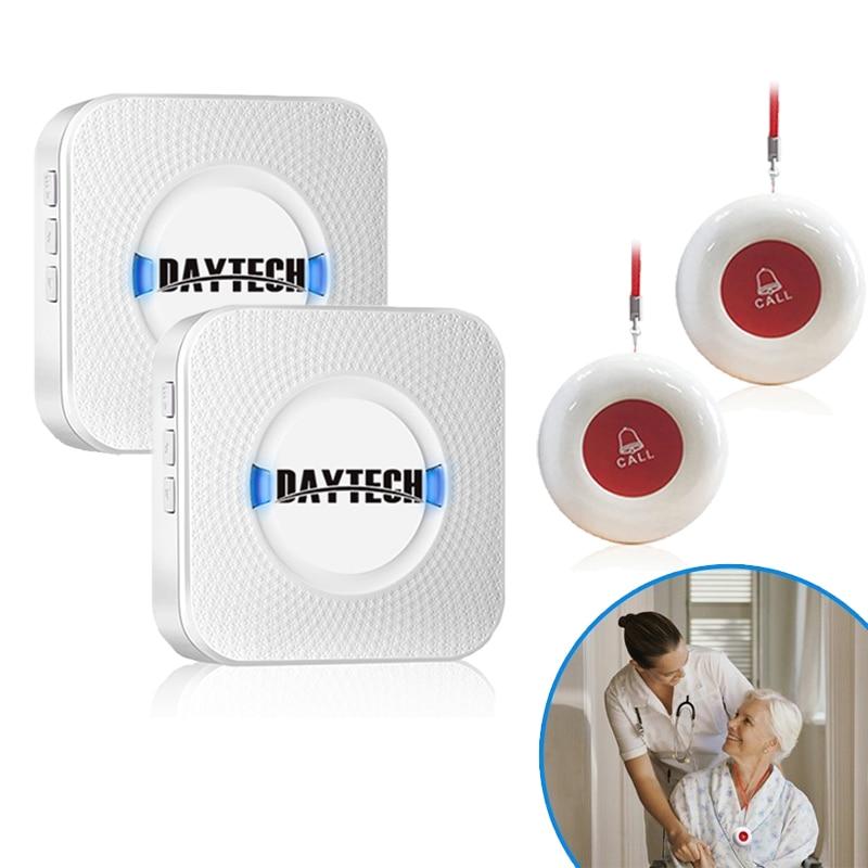 DAYTECH Wireless Caregiver Pager SOS Nurse Calling Alert Smart Call Button Elderly Patient Disable 2 Receiver 2 Call Transmitter