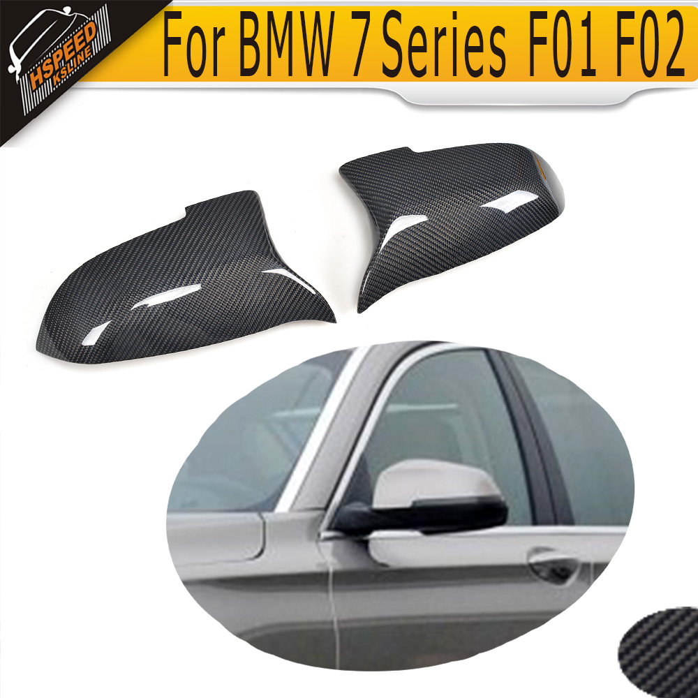 carbon fiber side rear back view mirror covers Caps for BMW 7 Series F01 F02 Sedan 4 Door Standard And M Sport 13-15 740i 750i 4 series replacement carbon fiber mirror covers caps shell for bmw f32 f33 2 door only 14 17 coupe m sport convertable lhd non m