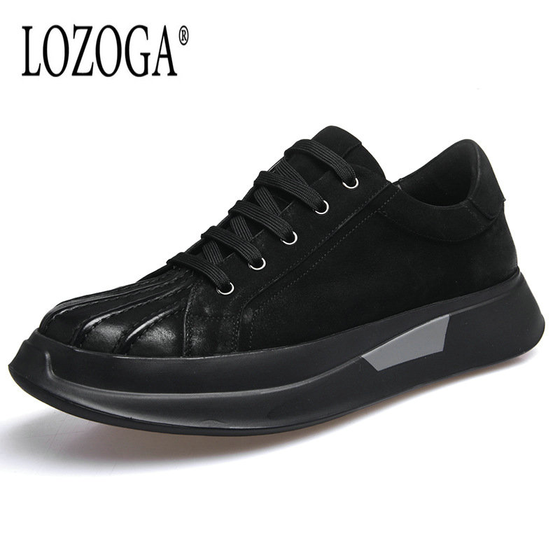 Lozoga Luxury Mens Shoes Genuine Leather Sneakers Shoes European and American Fashion Brand Shoes Retro Handmade black Zapatos 2017the mostfashion trends european and american brands genuine flowers ladies luxury short shoes club sexy women s shoes