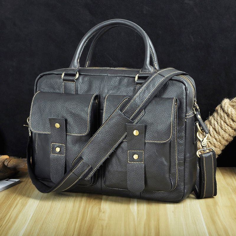 Men Original Leather Design Travel Business Briefcase 14 Laptop Case Professional Executive Portfolio Organizer Tote Bag
