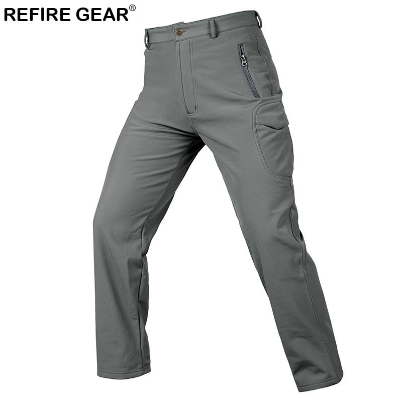ReFire Gear Camouflage Outdoor Hiking Pants Men Waterproof Camping Pants Winter Windproof Soft shell Warm Fleece Trousers