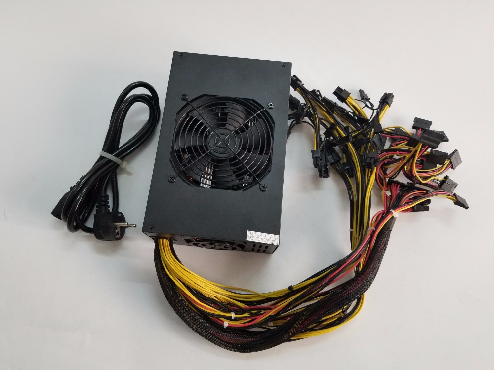 ETH mining power 1600W 12V 133A Including 25PCS 2P 4P 6P 8P 24P connectors withe 3 pcs cooling fan gold power supply