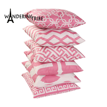 Nordic Style Decoration Pink Geometric Cushion Cover Simple Striped Wave Geometry Pillow Modern Home Decor Customized pillowcase