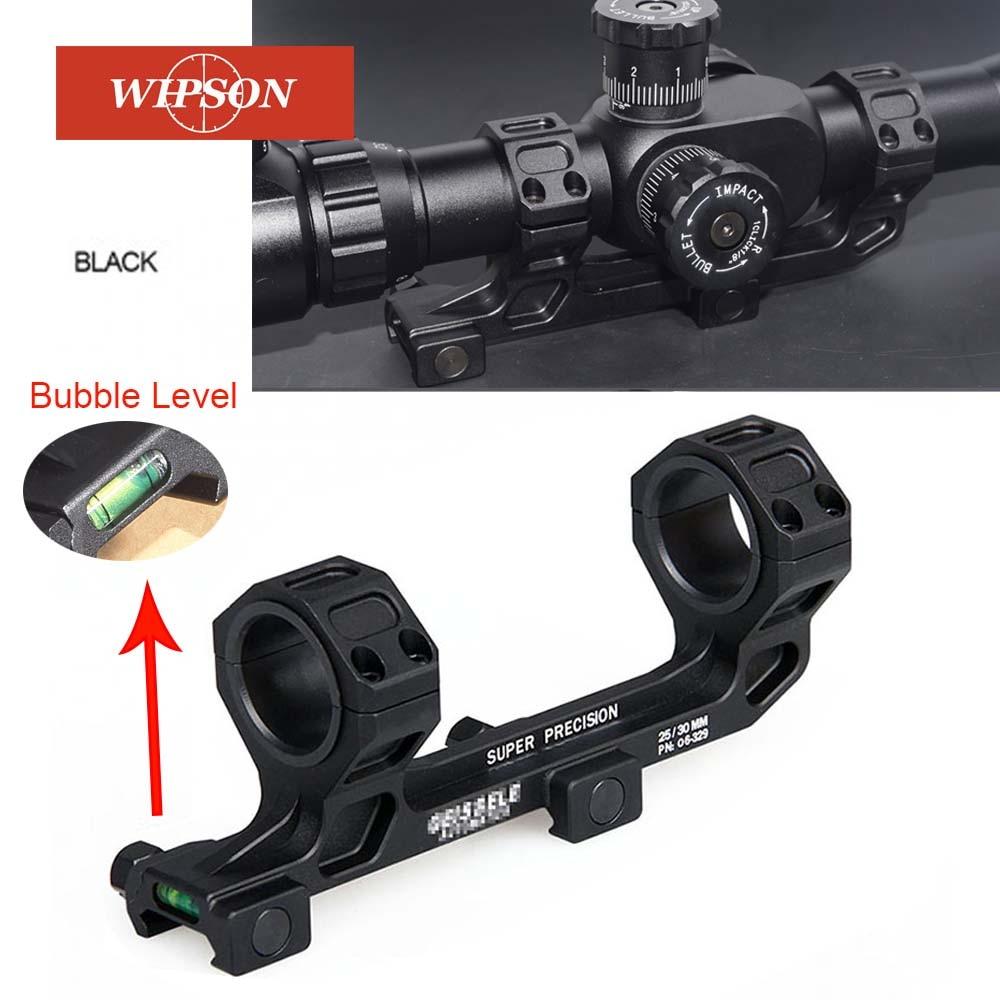 Wipson arma tática ar15 rifle óptica escopo montar 25.4mm/30mm qd anéis de montagem com nível bolha para 20mm picatinny ferroviário