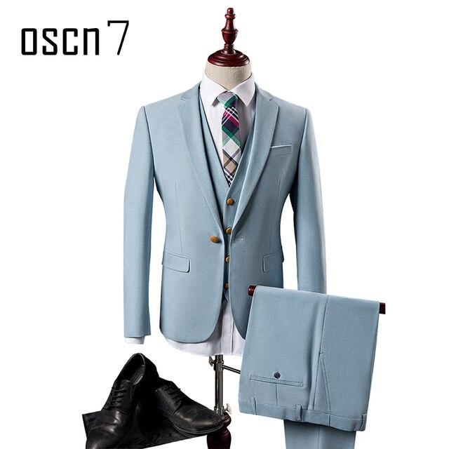 OSCN7 3 Unids Blue sky Traje Hombres Slim Fit Ocio Negocios Juegos de  Vestido de boda 0812c067646