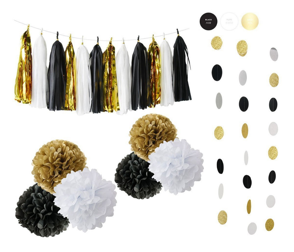 Birthday party backdrop tissue paper pom poms product on alibaba com - Set Of 10 Black Gold Tissue Paper Pom Poms Paper Tassel Circle Garland For Graduation Party