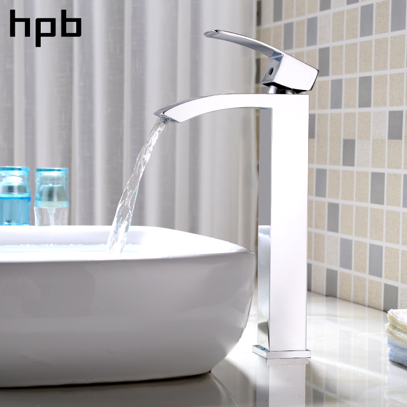HPB Brass Chrome Tall Basin Faucet Waterfall Bathroom Sink Mixer Single Lever Tap Hot And Cold Water Contemporary hpb square style tall basin faucet water tap chrome finished bathroom sink mixer single handle hot and cold hp3132