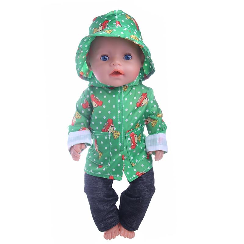 Fleta Baby Born Doll Green dot raincoat fit 43cm Zapf Doll Fashion Baby Born Doll Accessories (Only clothes) n193 cheap price baby born zapf doll accessories doll shoes fit 43cm baby born zapf doll ds30