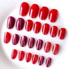 24pcs Sexy Lady False Nails Finished Full Cover Nail Tips Press on art  with Glue fake pure color Hot Sale