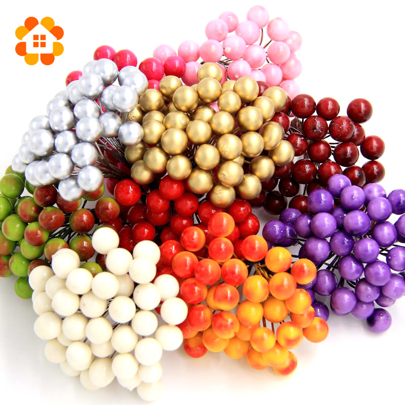 40pcs 80heads Scrapbooking Stamen Fake Fruit Small Berries Artificial Flower cherry Bouquet Wedding Party Christmas Decoration