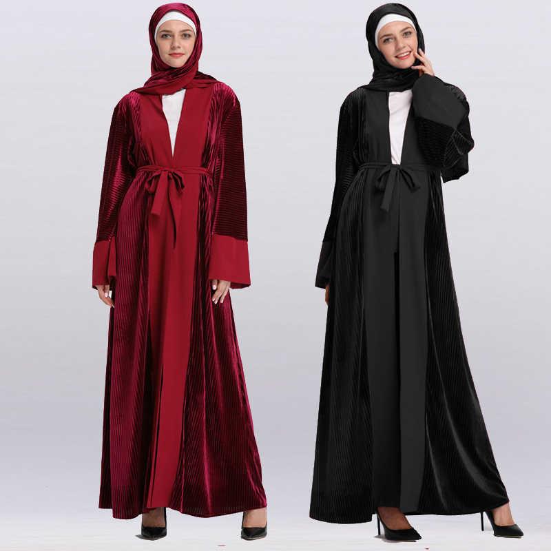 22af3fe99c7 2019 Abaya Robe Dubai Islam Kaftan Muslim Velvet Kimono Cardigan Hijab Dress  Ramadan Abayas For Women