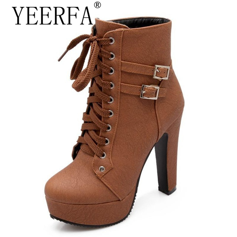 YEERFA 2017 Autumn Winter Women Ankle Boots high heels lace up leather double buckle platform short booties new black SIZE 35-43 стоимость