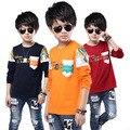 Новое поступление 100% хлопок майка мальчиков с длинным рукавом футболки высокое качество одежда тис мальчики верхней одежды ребенка прохладно одежды