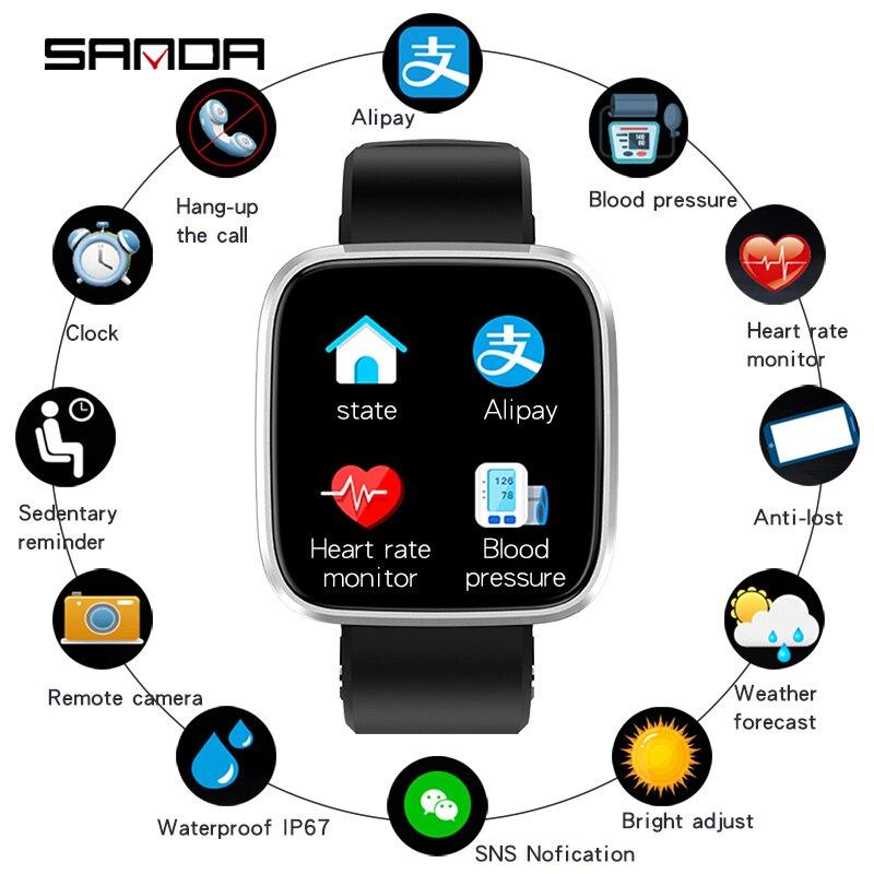 SANDA T8 femmes montres numériques intelligentes soutien hors ligne Alipay 24 h moniteur de fréquence cardiaque sans arrêt prévision météo montre-bracelet de beauté