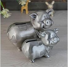 creative pig hape metal tin metal pig piggy bank pig coin bank metal cash box pig money box for chirdren's gifts PB014 baby pig pig walks