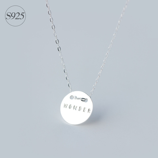 Srcoi new personalized 925 sterling silver name necklace round srcoi new personalized 925 sterling silver name necklace round shape initial pendant necklace simple style disc aloadofball Images