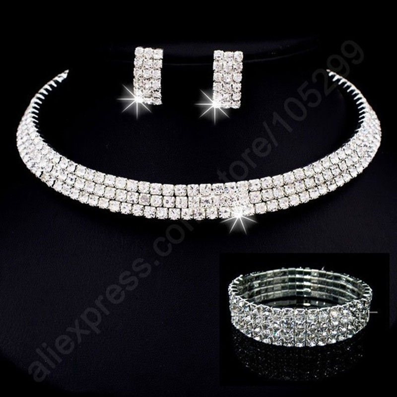 JEXXI Hot Arrival Jewellery Sets S90 Silver SW ELEMENT Crystal Necklace Stu Earr