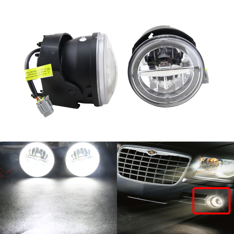 2-In-1 Auto Car Led Front Fog Lights Assembly W/ White DRL Daytime Running Lights For Chrysler 300 Base C SRT8 Sedan 4D Lamp 2 in 1 out usb 2 0 auto