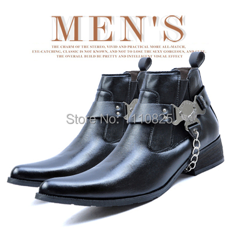 ФОТО Free shipping 2014 New England pointed male fashion boots everyday casual men's theatrical boots