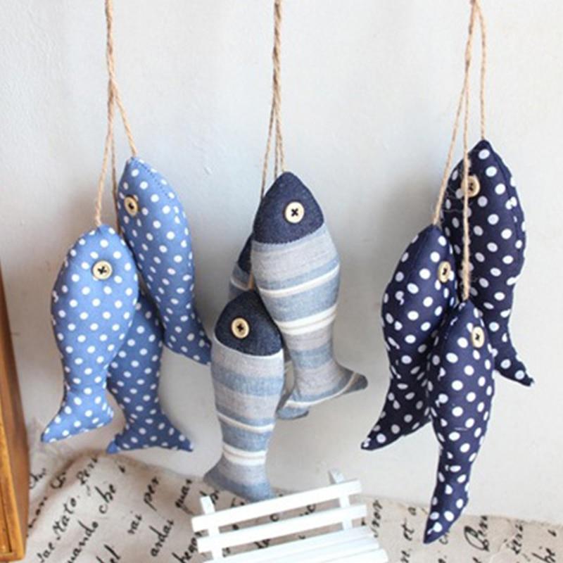 3pcs/set Mediterranean Style Linen Cloth Fish Hanger Bunch Nautical Decor 3D Sticker For Wall Hanging 40*6cm Gift Crafts