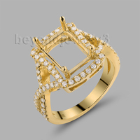 Emerald Cut 8x10mm Semi Mount In Solid 18Kt Yellow Gold Promise Ring Fashion Ring WU253