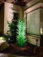 Hot Sale Murano Blown Glass Sculpture Outdoor Garden Art Decoration Green Glass Art Floor Lamp Luxury Flower Trees Sculpture