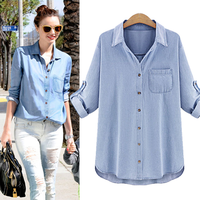Azul Denim Shirt Mujeres Blusas 2017 Nueva Primavera de
