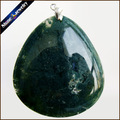 Fashion Women Man Necklace Pendant Big Natural Moss Agate Stone Pendant Slide Healing Crystals Pendants for Jewelry Making DS643