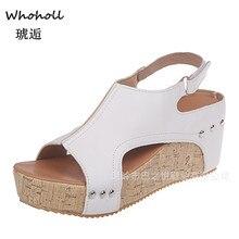 купить Women Sandals 2019 Platform Sandals Wedges Shoes for Women Heels Sandalias Mujer Summer Shoes Leather Wedge Heels Sandals 43 онлайн