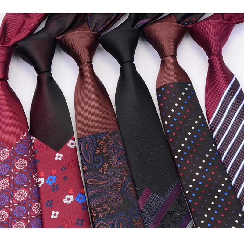RBOCOTT Fashion Slim Ties Men's Tie 6cm Novelty Luxury Plaid Floral Striped Necktie Skinny Red Blue Brown For Men Wedding Party