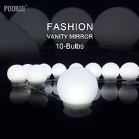 LED Dimmable Light Bulbs Fashion Vanity Makeup Mirror Cool White 10 Bulbs Touch Control Hollywood DIY Lamp