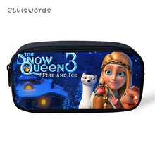 ELVISWORDS Childrens Pencil Bags Snow Queens Prints Pattern Students Stationery School Supplies Box Cartoon Beautician