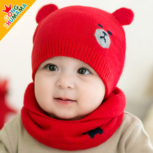 New style 2pcs/set Baby Hat and Scarf Winter Knitted Warm Lovely Bear Design hats For Unisex 0-24 Months ellesses