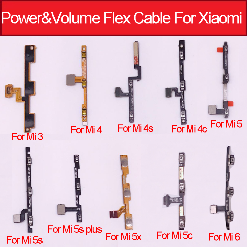 Power & Volume Button Flex Cable For Xiaomi Mi6 Mi5s 5x 5c M5s Plus Mi 3 4 5 4s 4c Power Volume Control Flex Ribbon Repair Parts