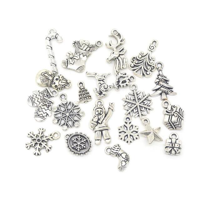 19 pz Argento Misto di Colore Albero Di Natale Fiocco di Neve Calza Canna di Car