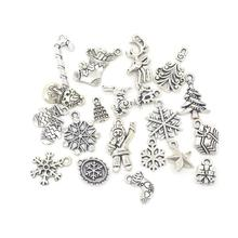 19pcs Mixed Silver Color Christmas Tree Snowflake Stocking Candy Cane Charm Pendants Decoration Christmas Decorations