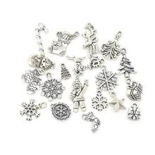 b83319aafc2 19pcs Mixed Silver Color Christmas Tree Snowflake Stocking Candy Cane Charm  Pendants Decoration Christmas Decorations