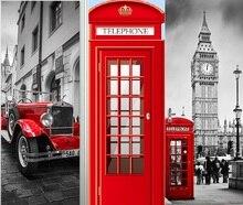Britannica Londra Cabina Telefonica Rossa Vettura Sportiva Big Ben Classico Porta Sticker FAI DA TE Murale Complementi Arredo Casa Poster In PVC Adesivo IMPERMEABILE
