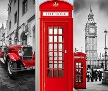 영국 런던 빨간 전화 부스 스포츠카 빅 벤 클래식 도어 스티커 DIY 벽화 홈 장식 포스터 PVC 방수 스티커