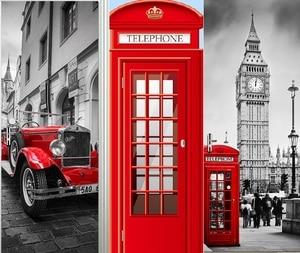 Image 1 - Londres britânica cabine de telefone vermelho esportes carro grande ben porta clássica adesivo diy mural decoração casa cartaz pvc adesivo à prova dwaterproof água