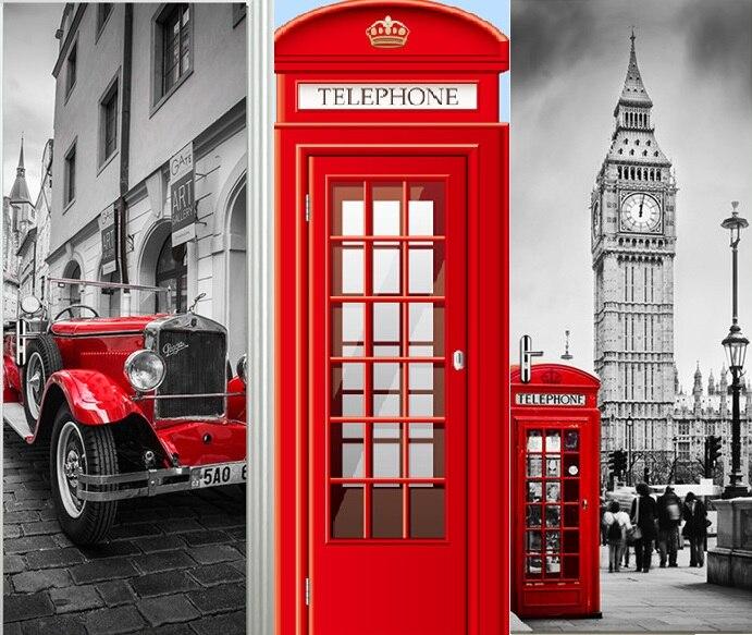 Style britannique Londres Rouge Cabine Téléphonique Voiture de Sport Big Ben classique Porte Autocollant DIY Peint Décor À La Maison Affiche PVC Étanche autocollant