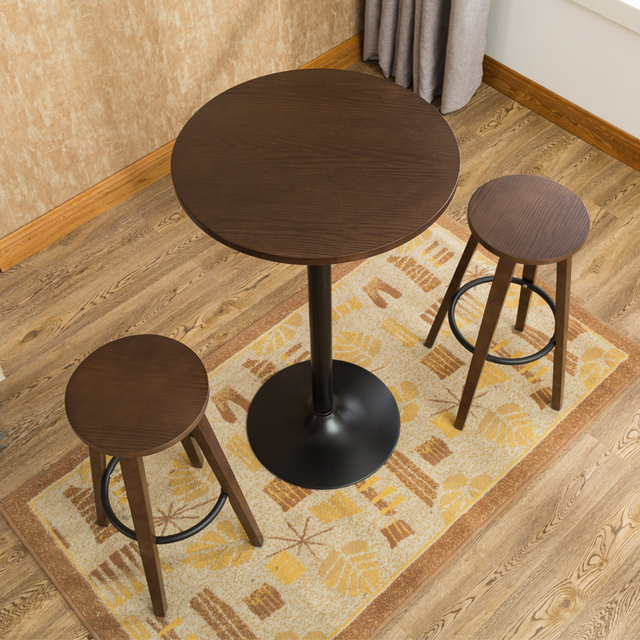 cafe chairs wooden swing chair wayfair 3 pcs bar stool table set indoor kitchen dining furniture round for home restaurant breakfast