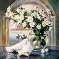 30x30cm Living Room Entrance Porch Bedroom Bird Series Decorated with White Roses Pigeon Simple Handmade Diamond Wall Paintings