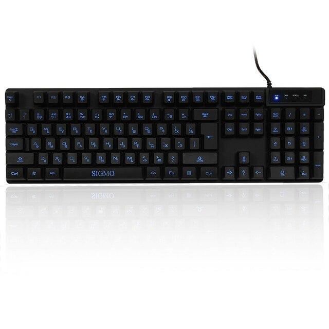 99ea0c9b44d SIGMO Russian USB Waterproof Backlight Gaming Keyboard Bule 3Colors  Fluorescent 104 Keys Backlit Keyboard for Computer. Mouse ...