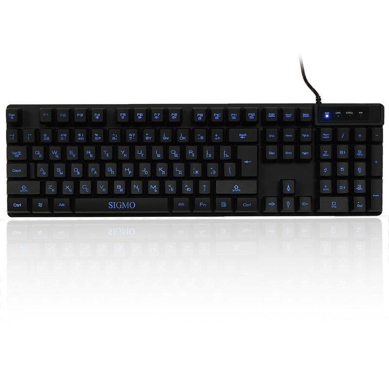 bilder für SIGMO Russische USB Wasserdichte Hintergrundbeleuchtung Gaming-tastatur Bule 3 Farben Fluoreszierend 104 Schlüssel Hintergrundbeleuchtete Tastatur für Computer PC Laptop