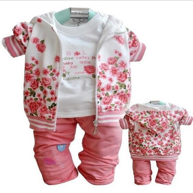 Conjuntos de roupa nova do bebê da menina da criança roupas de menina Recém-nascidos Roupas de manga comprida T-shirt jaqueta e calça ternos bebe casacos de flores