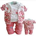 Toddler girl clothing new baby girl clothes Sets Newborn Clothes long sleeve jacket T-shirt and pant suits bebe flower coats