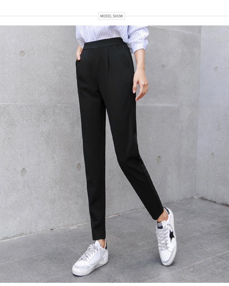 BIVIGAOS Spring Summer New Ladies Korean OL Black Harem Pants Breathable Thin Casual Pencil Pants Simple Suit Trousers For Women 22