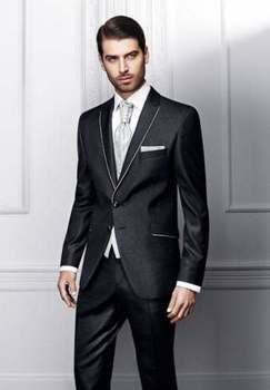 Shiny Black Groom Tuxedos Tailcoat Best Man Suits Wedding Groomsman 3 Piece Business Prom Custom Made Suits A0121